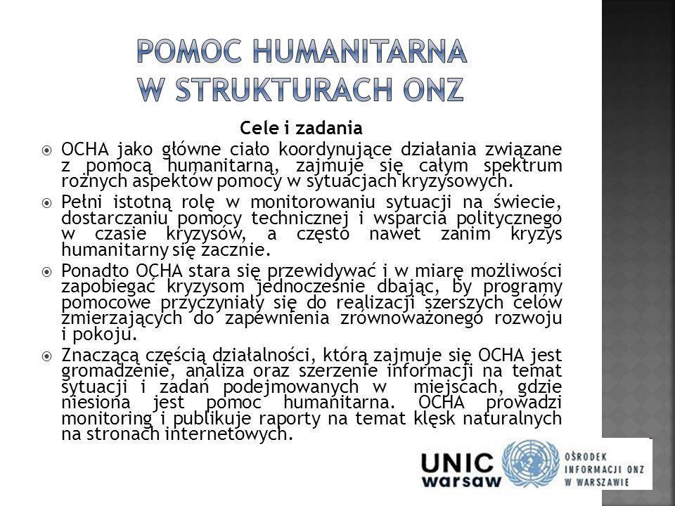 Cele i zadania OCHA jako główne ciało koordynujące działania związane z pomocą humanitarną, zajmuje się całym spektrum rożnych aspektów pomocy w sytua