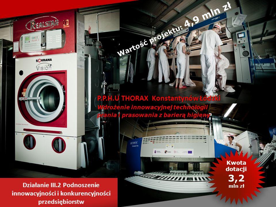 P.P.H.U THORAX Konstantynów Łódzki Wdrożenie innowacyjnej technologii prania i prasowania z barierą higieny Działanie III.2 Podnoszenie innowacyjności
