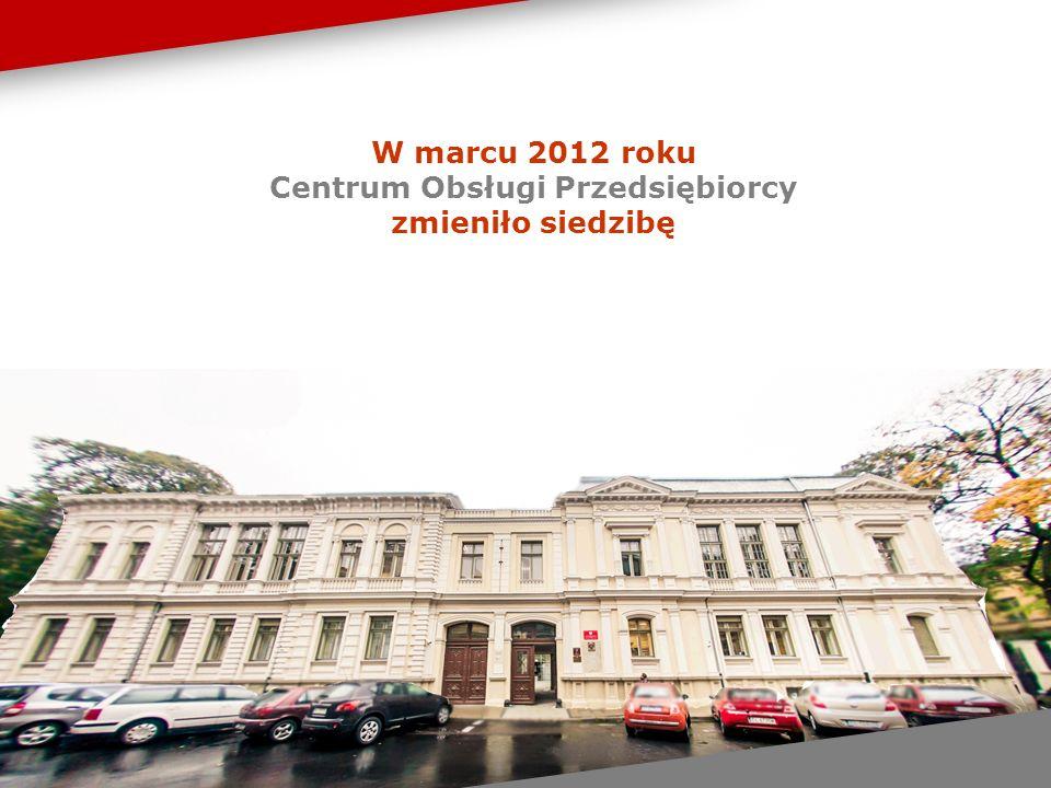 W marcu 2012 roku Centrum Obsługi Przedsiębiorcy zmieniło siedzibę