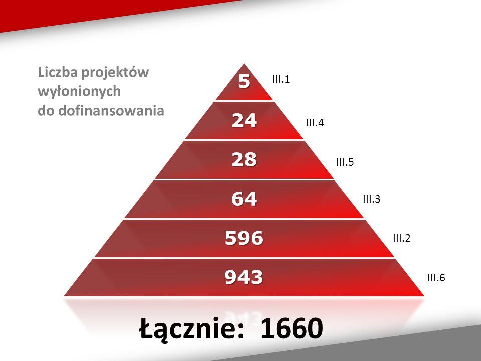 Liczba projektów wyłonionych do dofinansowania III.1 III.4 III.5 III.6 III.3 III.2 Łącznie: 1660