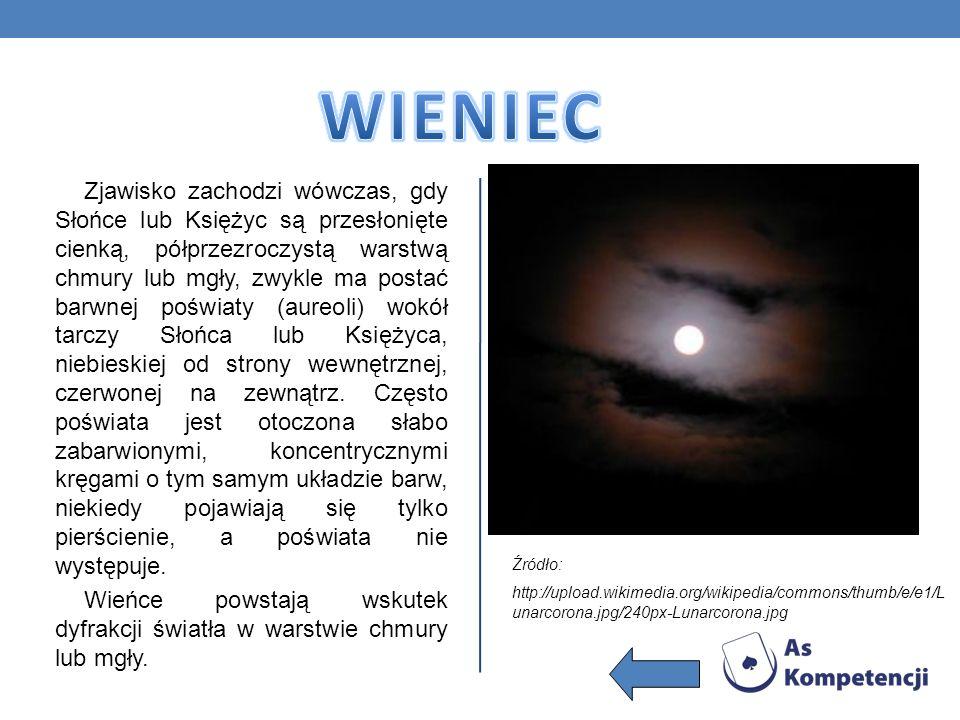 Zjawisko zachodzi wówczas, gdy Słońce lub Księżyc są przesłonięte cienką, półprzezroczystą warstwą chmury lub mgły, zwykle ma postać barwnej poświaty