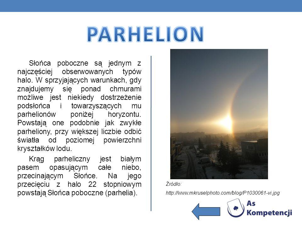 Słońca poboczne są jednym z najczęściej obserwowanych typów halo. W sprzyjających warunkach, gdy znajdujemy się ponad chmurami możliwe jest niekiedy d