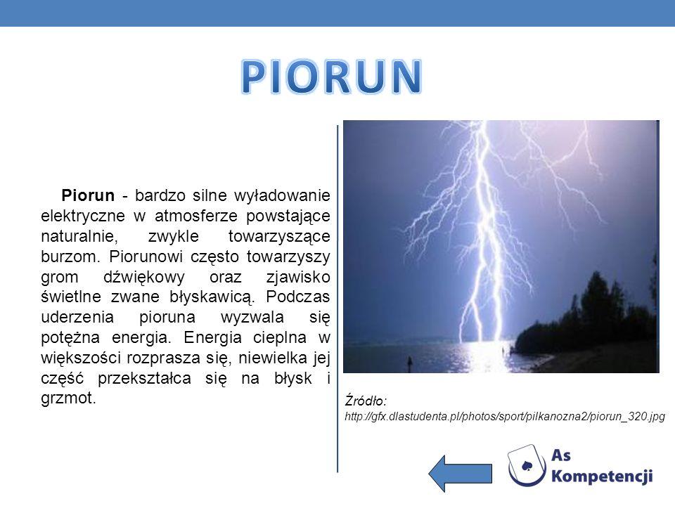Piorun - bardzo silne wyładowanie elektryczne w atmosferze powstające naturalnie, zwykle towarzyszące burzom. Piorunowi często towarzyszy grom dźwięko