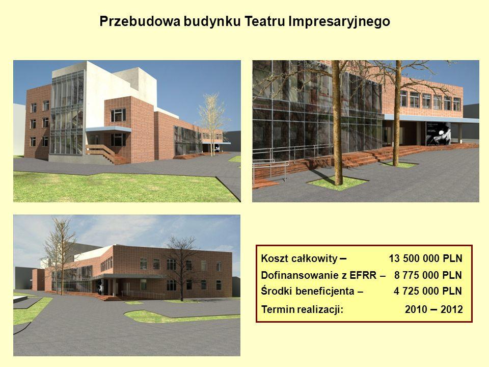 Przebudowa budynku Teatru Impresaryjnego Koszt całkowity – 13 500 000 PLN Dofinansowanie z EFRR – 8 775 000 PLN Środki beneficjenta – 4 725 000 PLN Te