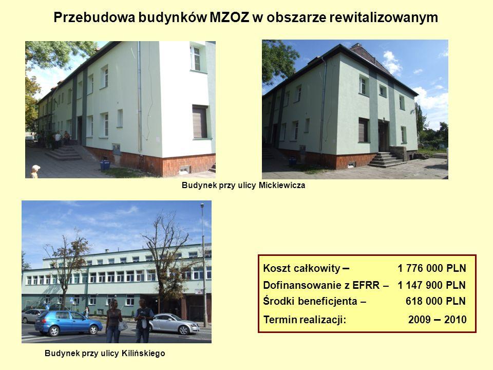 Przebudowa budynków MZOZ w obszarze rewitalizowanym Koszt całkowity – 1 776 000 PLN Dofinansowanie z EFRR – 1 147 900 PLN Środki beneficjenta – 618 00