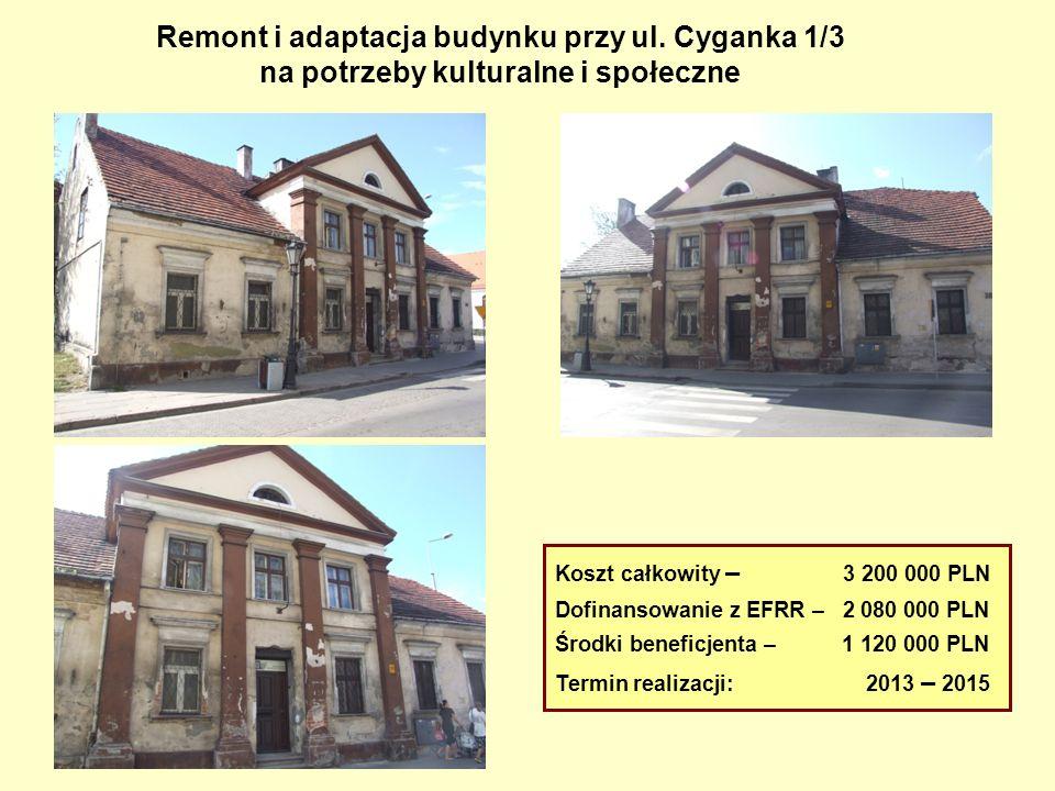 Remont i adaptacja budynku przy ul. Cyganka 1/3 na potrzeby kulturalne i społeczne Koszt całkowity – 3 200 000 PLN Dofinansowanie z EFRR – 2 080 000 P