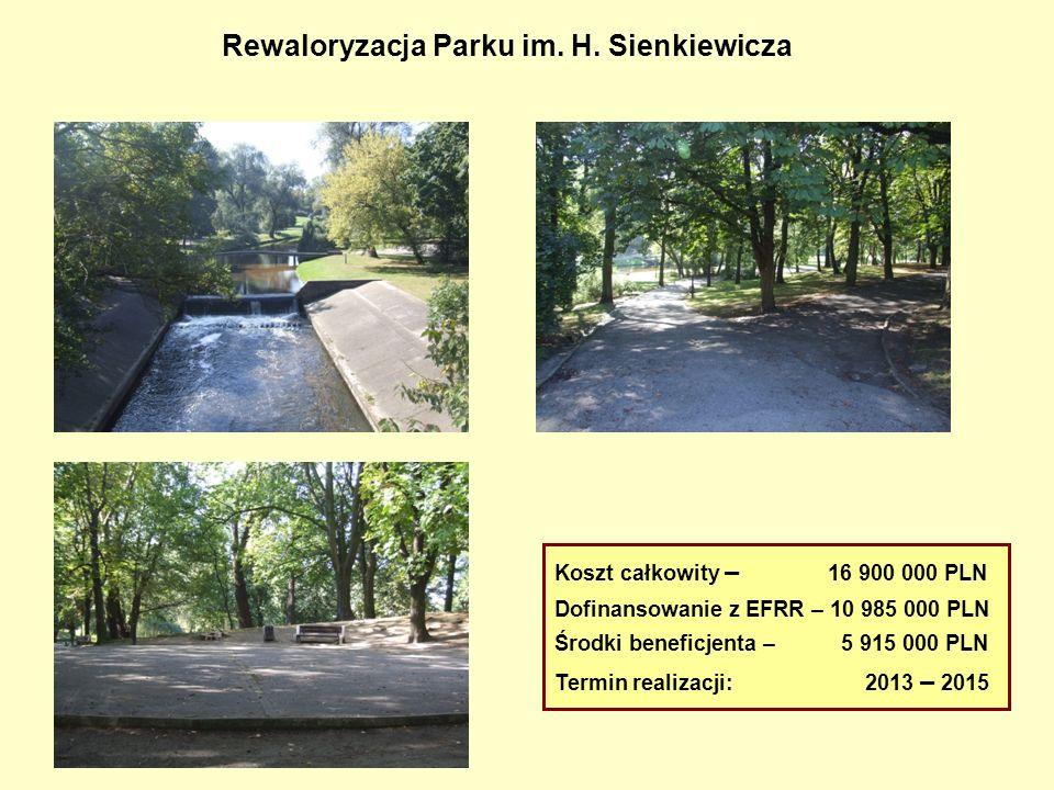 Rewaloryzacja Parku im. H. Sienkiewicza Koszt całkowity – 16 900 000 PLN Dofinansowanie z EFRR – 10 985 000 PLN Środki beneficjenta – 5 915 000 PLN Te