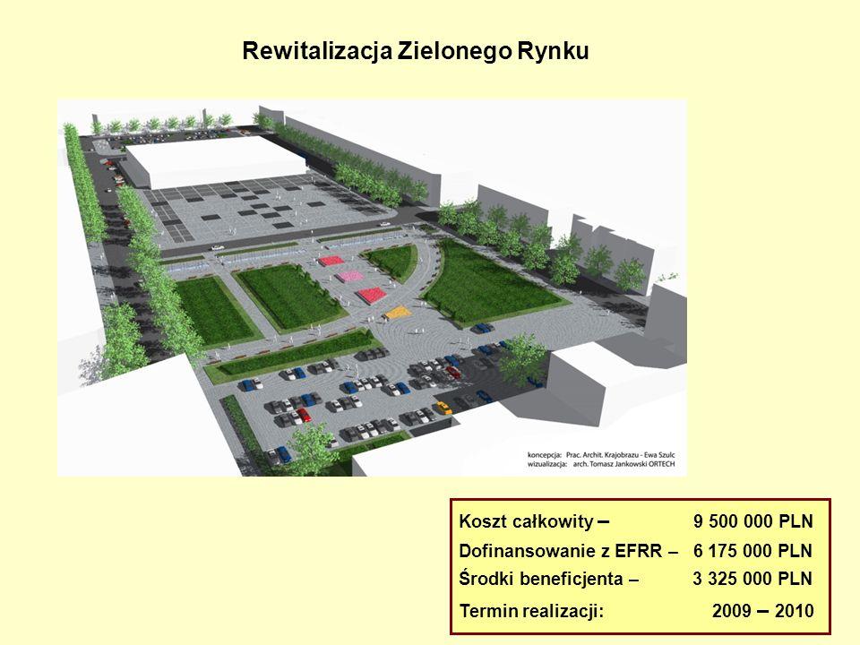 Rewitalizacja Zielonego Rynku Koszt całkowity – 9 500 000 PLN Dofinansowanie z EFRR – 6 175 000 PLN Środki beneficjenta – 3 325 000 PLN Termin realiza