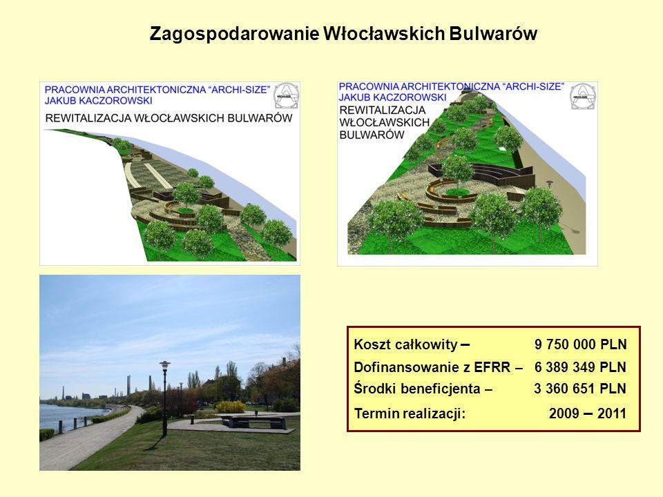 Zagospodarowanie Włocławskich Bulwarów Koszt całkowity – 9 750 000 PLN Dofinansowanie z EFRR – 6 389 349 PLN Środki beneficjenta – 3 360 651 PLN Termi