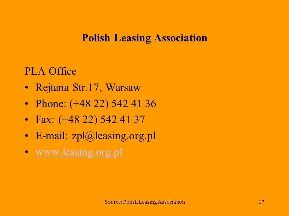 Source: Polish Leasing Association16 Net value of real estate leased in 1st half in years 1997 - 2006 (PLN mln)