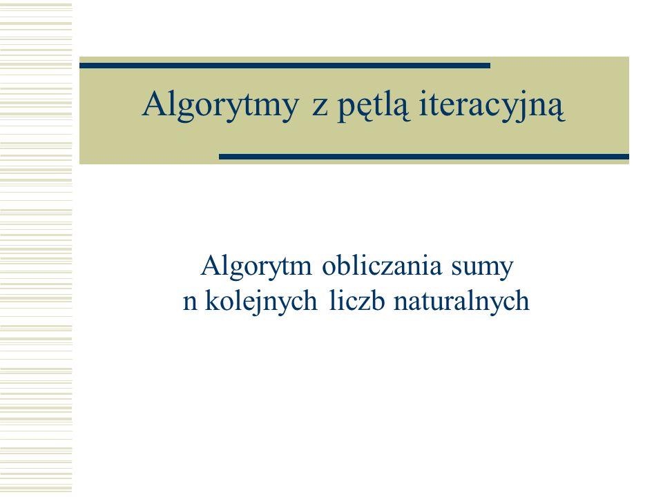 Algorytmy z pętlą iteracyjną Algorytm obliczania sumy n kolejnych liczb naturalnych