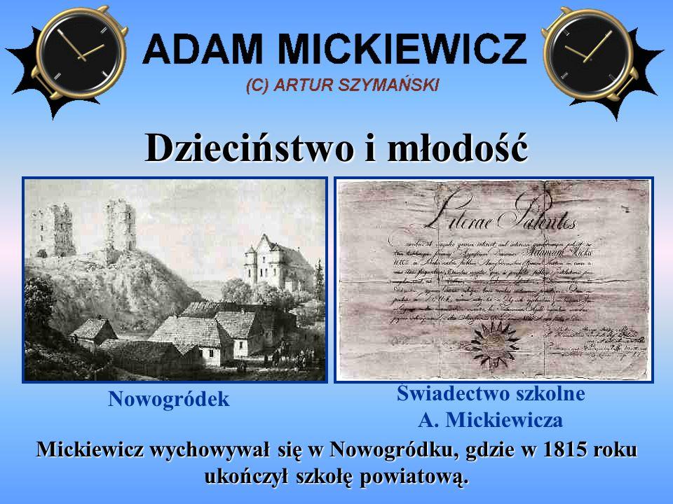 Studia w Wilnie Po ukończeniu szkoły w Nowogródku, Mickiewicz zaczął studiować literaturę na Uniwersytecie Wileńskim.