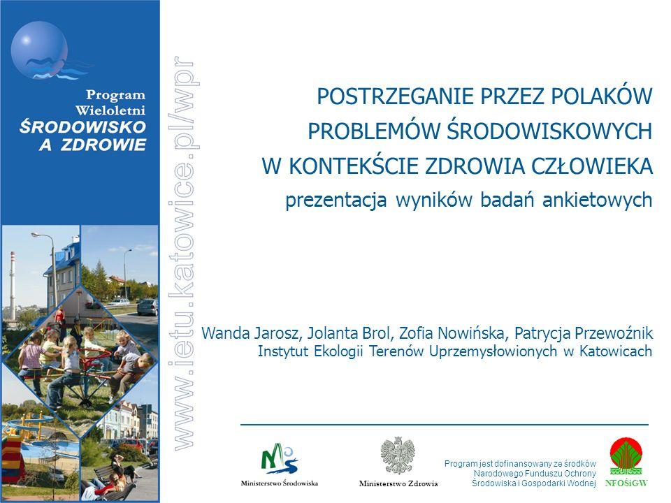 NFOŚiGW Ministerstwo Zdrowia Program jest dofinansowany ze środków Narodowego Funduszu Ochrony Środowiska i Gospodarki Wodnej Wanda Jarosz, Jolanta Br