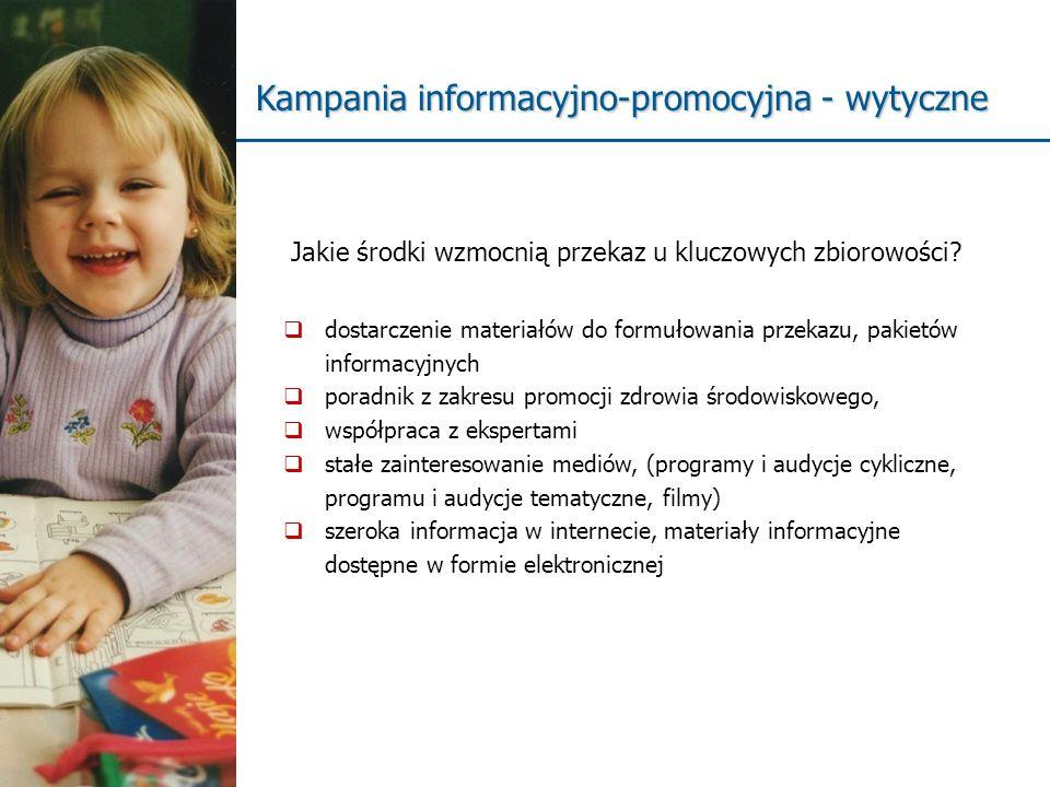 dostarczenie materiałów do formułowania przekazu, pakietów informacyjnych poradnik z zakresu promocji zdrowia środowiskowego, współpraca z ekspertami