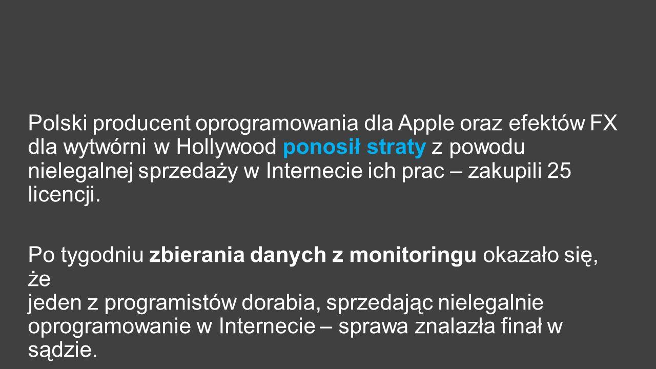 Polski producent oprogramowania dla Apple oraz efektów FX dla wytwórni w Hollywood ponosił straty z powodu nielegalnej sprzedaży w Internecie ich prac – zakupili 25 licencji.