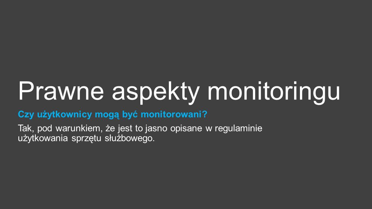 Prawne aspekty monitoringu Czy użytkownicy mogą być monitorowani.