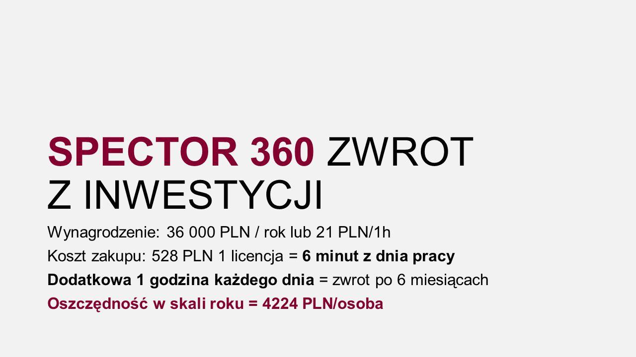 Wynagrodzenie: 36 000 PLN / rok lub 21 PLN/1h Koszt zakupu: 528 PLN 1 licencja = 6 minut z dnia pracy Dodatkowa 1 godzina każdego dnia = zwrot po 6 miesiącach Oszczędność w skali roku = 4224 PLN/osoba