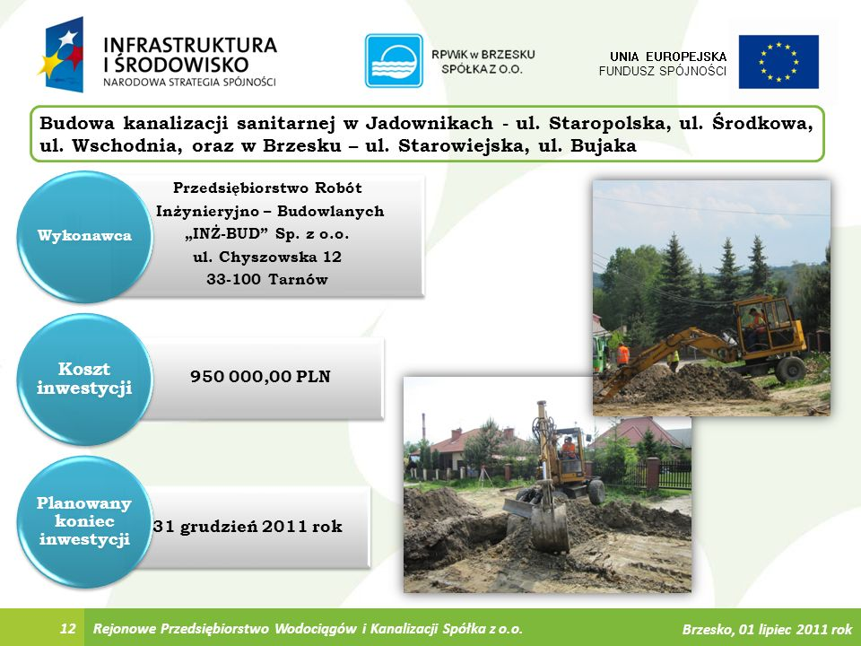 31 grudzień 2011 rok 950 000,00 PLN Przedsiębiorstwo Robót Inżynieryjno – Budowlanych INŻ-BUD Sp. z o.o. ul. Chyszowska 12 33-100 Tarnów Rejonowe Prze