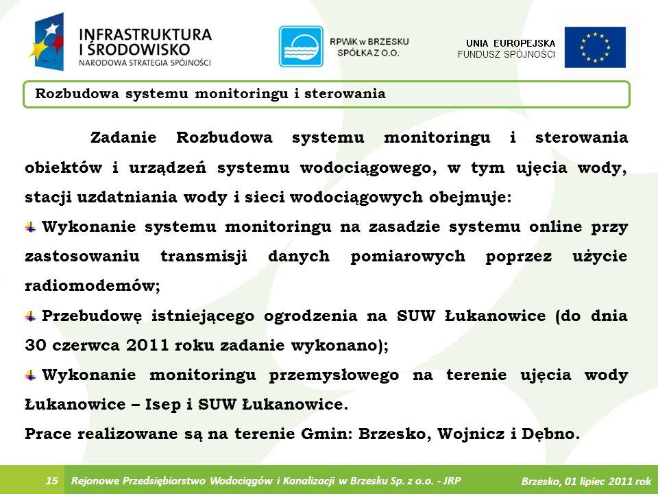 Rejonowe Przedsiębiorstwo Wodociągów i Kanalizacji w Brzesku Sp. z o.o. - JRP15 Rozbudowa systemu monitoringu i sterowania UNIA EUROPEJSKA FUNDUSZ SPÓ