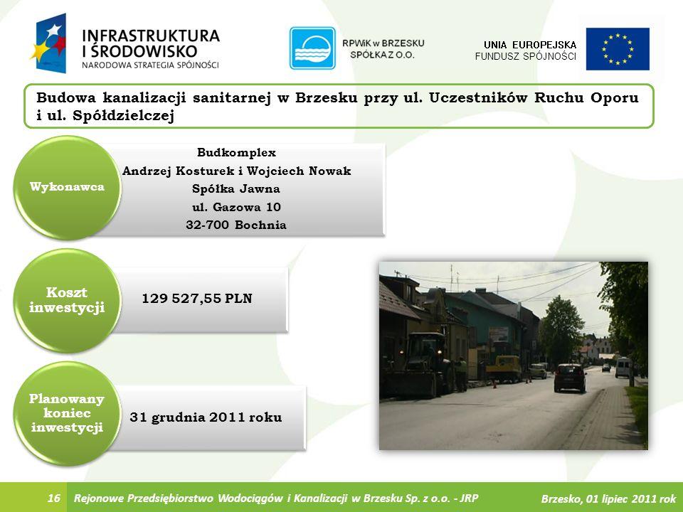 31 grudnia 2011 roku 129 527,55 PLN Budkomplex Andrzej Kosturek i Wojciech Nowak Spółka Jawna ul. Gazowa 10 32-700 Bochnia Rejonowe Przedsiębiorstwo W