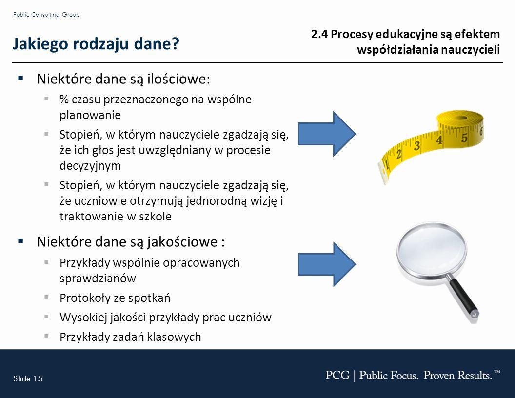 Slide 15 Public Consulting Group Jakiego rodzaju dane.