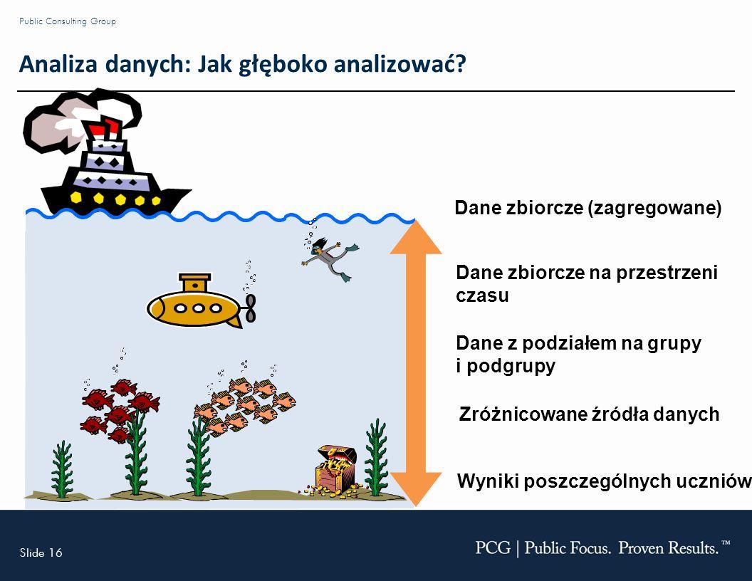 Slide 16 Public Consulting Group Analiza danych: Jak głęboko analizować.
