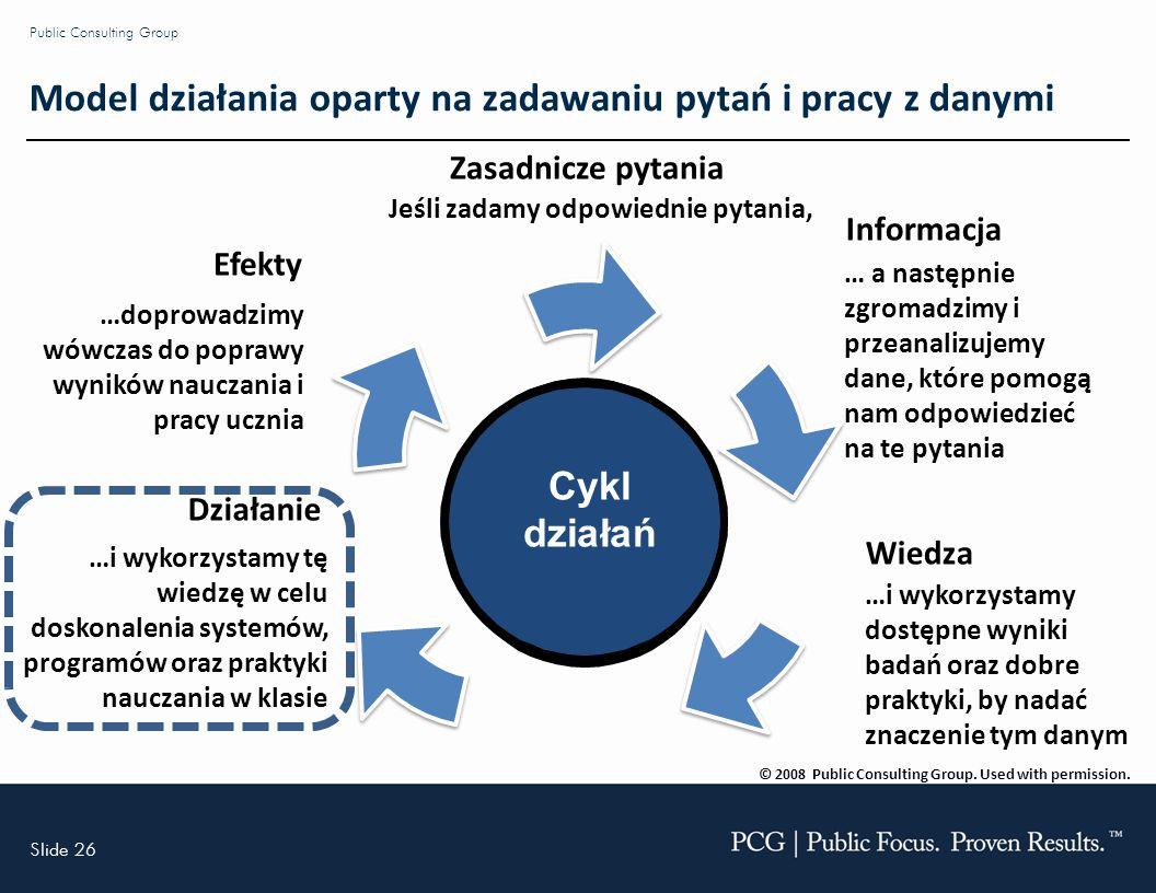 Slide 26 Public Consulting Group Cykl działań Zasadnicze pytania Jeśli zadamy odpowiednie pytania, Informacja … a następnie zgromadzimy i przeanalizujemy dane, które pomogą nam odpowiedzieć na te pytania Wiedza …i wykorzystamy dostępne wyniki badań oraz dobre praktyki, by nadać znaczenie tym danym Działanie …i wykorzystamy tę wiedzę w celu doskonalenia systemów, programów oraz praktyki nauczania w klasie Efekty …doprowadzimy wówczas do poprawy wyników nauczania i pracy ucznia © 2008 Public Consulting Group.