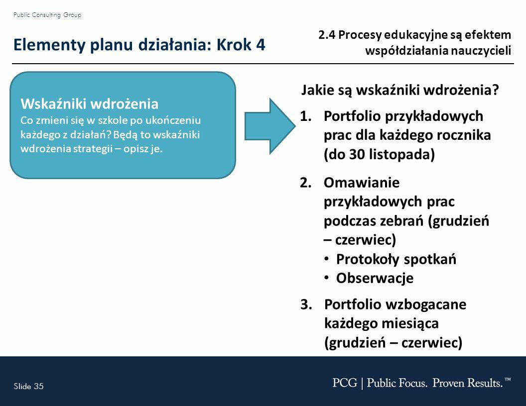Slide 35 Public Consulting Group Wskaźniki wdrożenia Co zmieni się w szkole po ukończeniu każdego z działań.