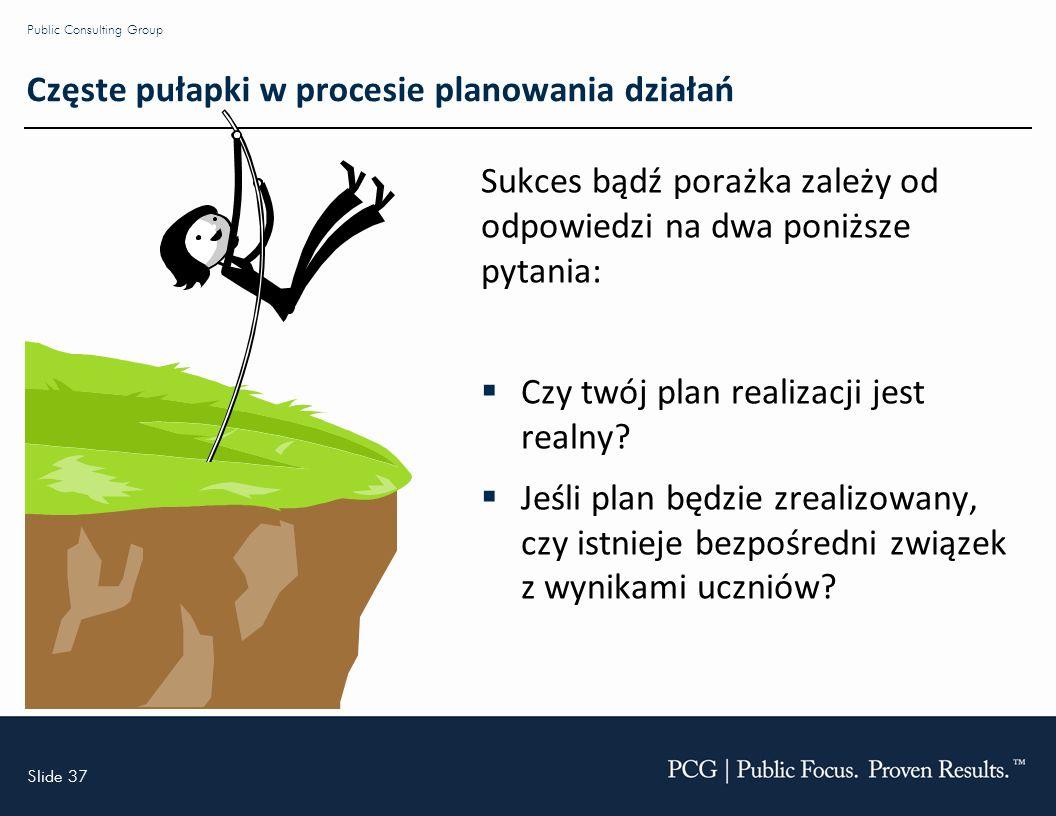 Slide 37 Public Consulting Group Częste pułapki w procesie planowania działań Sukces bądź porażka zależy od odpowiedzi na dwa poniższe pytania: Czy twój plan realizacji jest realny.