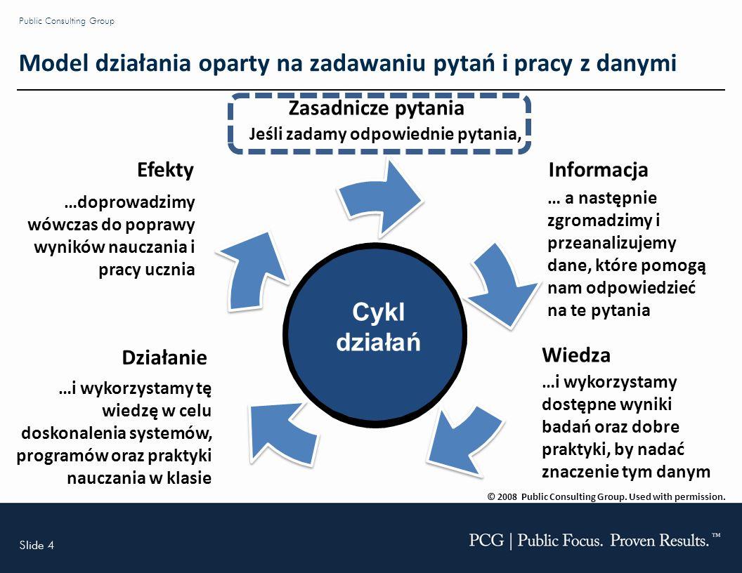 Slide 4 Public Consulting Group Cykl działań Zasadnicze pytania Jeśli zadamy odpowiednie pytania, Informacja … a następnie zgromadzimy i przeanalizujemy dane, które pomogą nam odpowiedzieć na te pytania Wiedza …i wykorzystamy dostępne wyniki badań oraz dobre praktyki, by nadać znaczenie tym danym Działanie …i wykorzystamy tę wiedzę w celu doskonalenia systemów, programów oraz praktyki nauczania w klasie Efekty …doprowadzimy wówczas do poprawy wyników nauczania i pracy ucznia © 2008 Public Consulting Group.