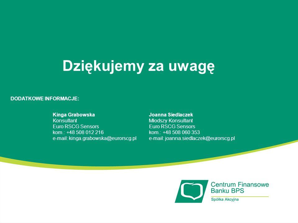 Dziękujemy za uwagę Kinga Grabowska Konsultant Euro RSCG Sensors kom.: +48 508 012 216 e-mail: kinga.grabowska@eurorscg.pl DODATKOWE INFORMACJE: Joann