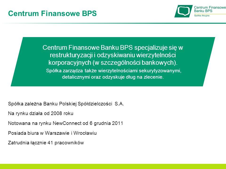 Główne obszary działalności Restrukturyzacja i windykacja należności Zarządzanie należnościami sekurytyzowanymi Windykacja na własny rachunek (inkaso) Windykacja na zlecenie Nabywanie i odzyskiwanie wierzytelności na własny rachunek Negocjacje w imieniu zleceniodawcy, w ramach wynagrodzenia prowizyjnego Licencja Komisji Nadzoru Finansowego na zarządzanie należnościami sekurytyzowanymi uzyskana w marcu 2011 Spółka stosuje indywidualne podejście do dłużnika, prowadząc negocjacje przedsądowe, a także (jeśli zajdzie taka konieczność) na drodze postępowania sądowego