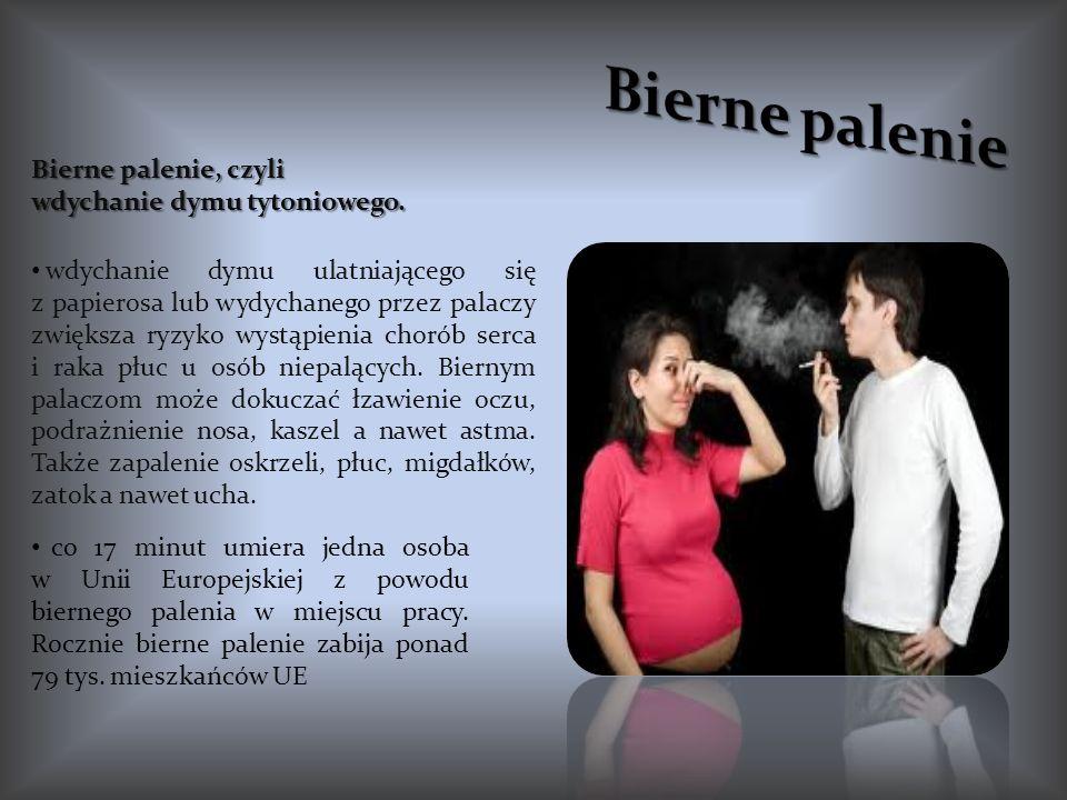 Bierne palenie, czyli wdychanie dymu tytoniowego. wdychanie dymu ulatniającego się z papierosa lub wydychanego przez palaczy zwiększa ryzyko wystąpien