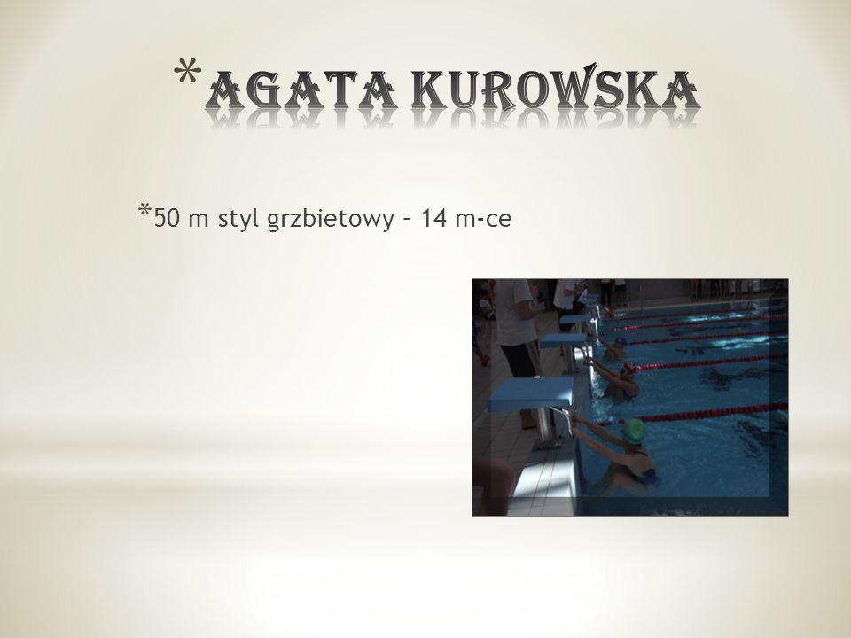 * 50 m styl grzbietowy – 14 m-ce