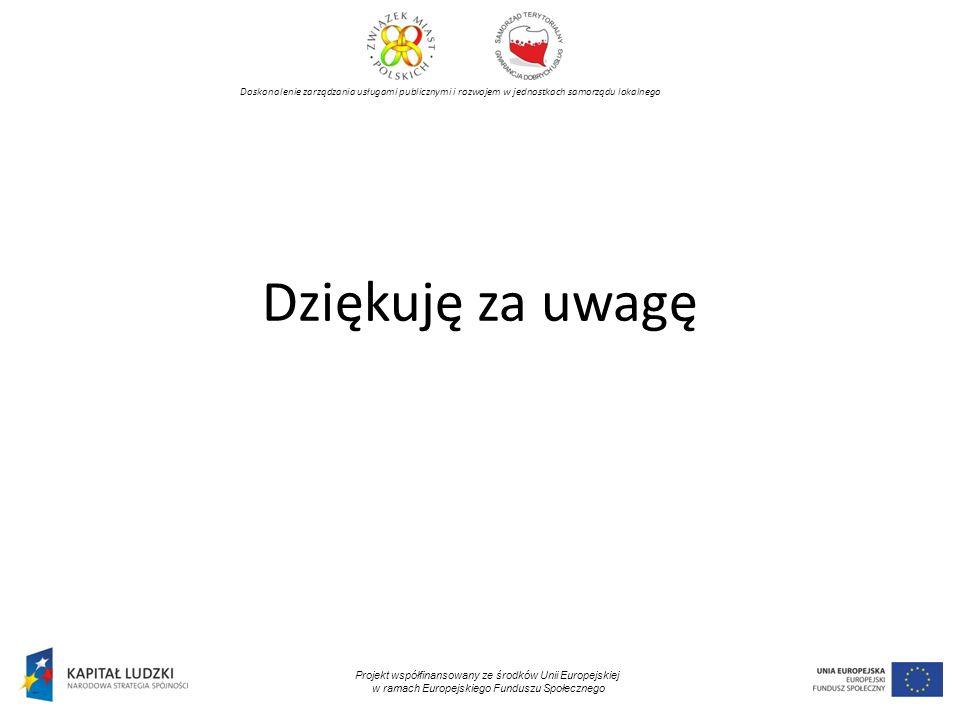 Doskonalenie zarządzania usługami publicznymi i rozwojem w jednostkach samorządu lokalnego Projekt współfinansowany ze środków Unii Europejskiej w ramach Europejskiego Funduszu Społecznego Dziękuję za uwagę