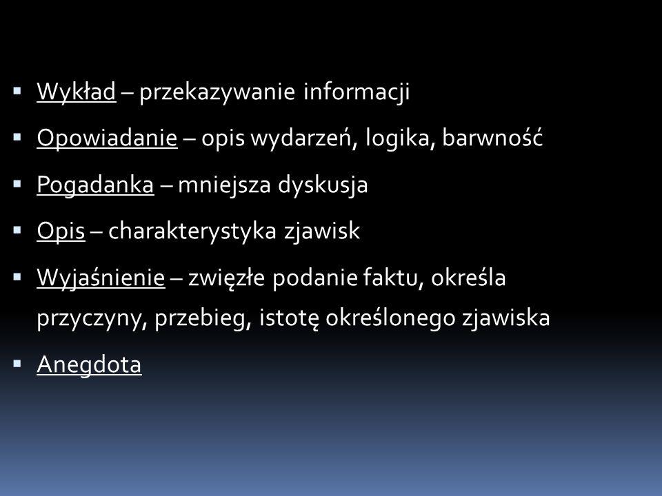 Wykład – przekazywanie informacji Opowiadanie – opis wydarzeń, logika, barwność Pogadanka – mniejsza dyskusja Opis – charakterystyka zjawisk Wyjaśnien
