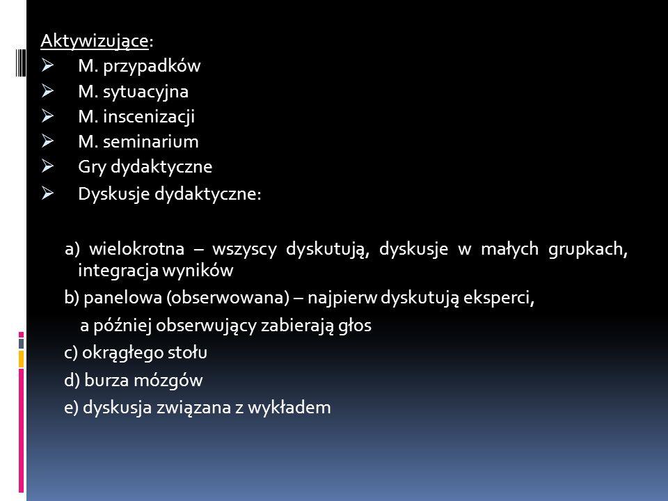 Aktywizujące: M. przypadków M. sytuacyjna M. inscenizacji M. seminarium Gry dydaktyczne Dyskusje dydaktyczne: a) wielokrotna – wszyscy dyskutują, dysk