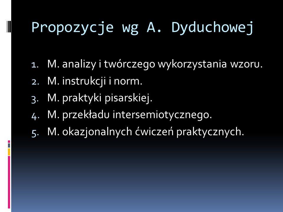 Propozycje wg A. Dyduchowej 1. M. analizy i twórczego wykorzystania wzoru. 2. M. instrukcji i norm. 3. M. praktyki pisarskiej. 4. M. przekładu interse