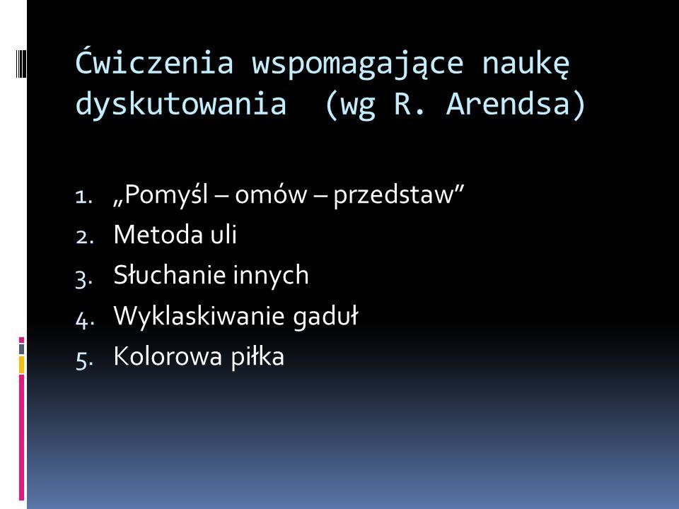 Ćwiczenia wspomagające naukę dyskutowania (wg R. Arendsa) 1. Pomyśl – omów – przedstaw 2. Metoda uli 3. Słuchanie innych 4. Wyklaskiwanie gaduł 5. Kol