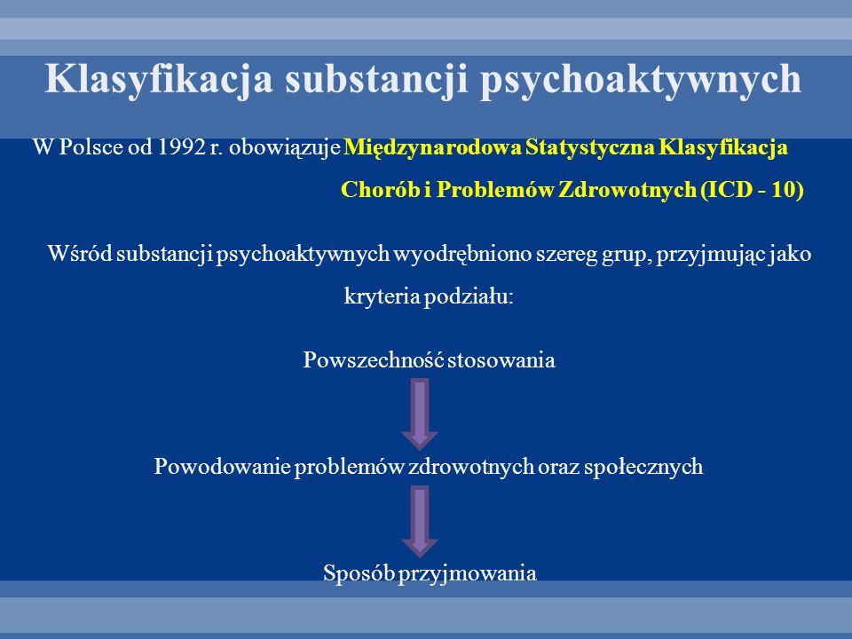 W Polsce od 1992 r. obowiązuje Międzynarodowa Statystyczna Klasyfikacja Chorób i Problemów Zdrowotnych (ICD - 10) Wśród substancji psychoaktywnych wyo