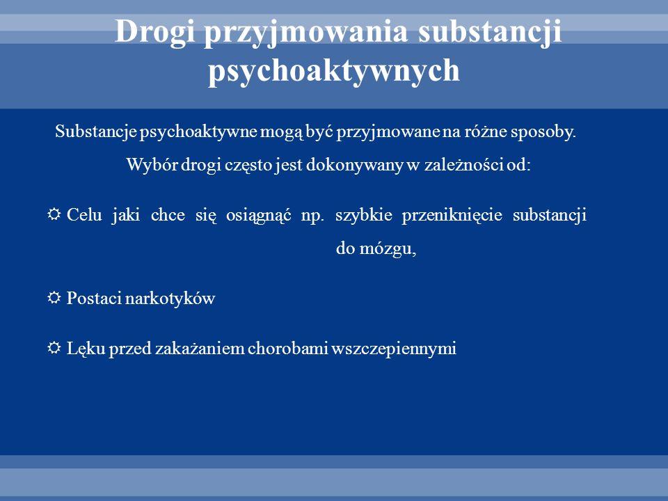 Substancje psychoaktywne mogą być przyjmowane na różne sposoby. Wybór drogi często jest dokonywany w zależności od: Celu jaki chce się osiągnąć np. sz