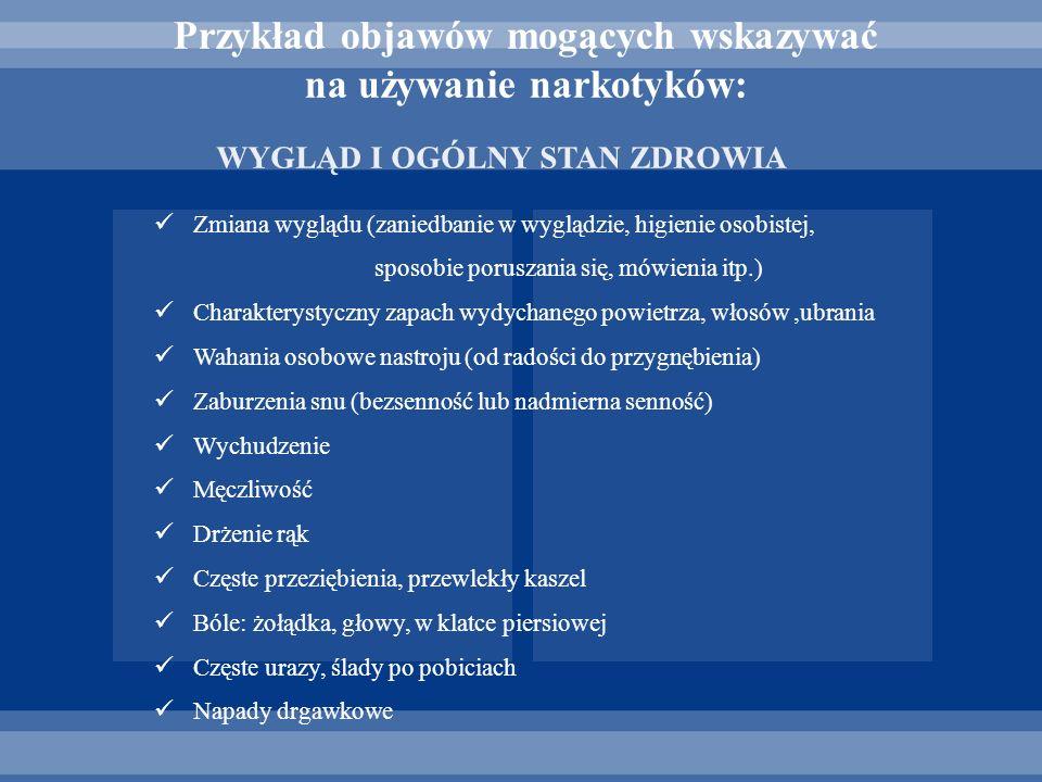 Przykład objawów mogących wskazywać na używanie narkotyków: Zmiana wyglądu (zaniedbanie w wyglądzie, higienie osobistej, sposobie poruszania się, mówi