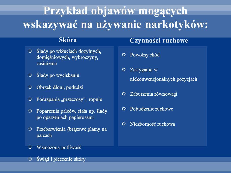 Przykład objawów mogących wskazywać na używanie narkotyków: Ślady po wkłuciach dożylnych, domięśniowych, wybroczyny, zasinienia Ślady po wyciskaniu Ob