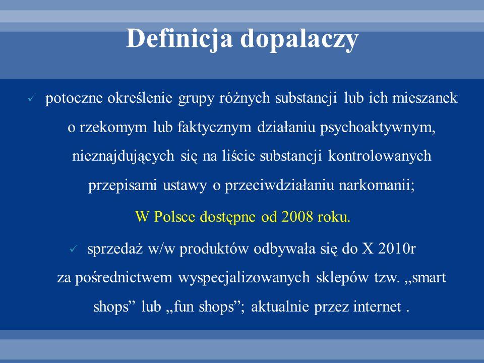 Definicja dopalaczy potoczne określenie grupy różnych substancji lub ich mieszanek o rzekomym lub faktycznym działaniu psychoaktywnym, nieznajdujących