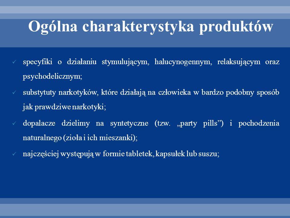 Ogólna charakterystyka produktów specyfiki o działaniu stymulującym, halucynogennym, relaksującym oraz psychodelicznym; substytuty narkotyków, które d