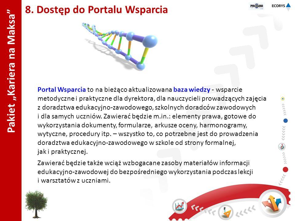 Pakiet Kariera na Maksa 8. Dostęp do Portalu Wsparcia Portal Wsparcia to na bieżąco aktualizowana baza wiedzy - wsparcie metodyczne i praktyczne dla d