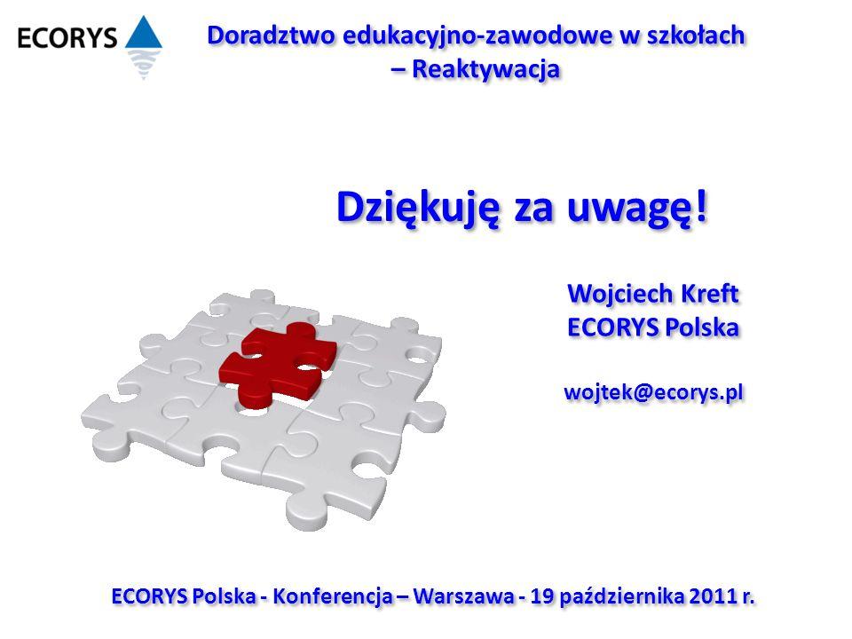 ECORYS Polska - Konferencja – Warszawa - 19 października 2011 r. Dziękuję za uwagę! Wojciech Kreft ECORYS Polska wojtek@ecorys.pl Wojciech Kreft ECORY