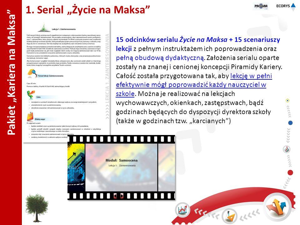 1. Serial Życie na Maksa 15 odcinków serialu Życie na Maksa + 15 scenariuszy lekcji z pełnym instruktażem ich poprowadzenia oraz pełną obudową dydakty