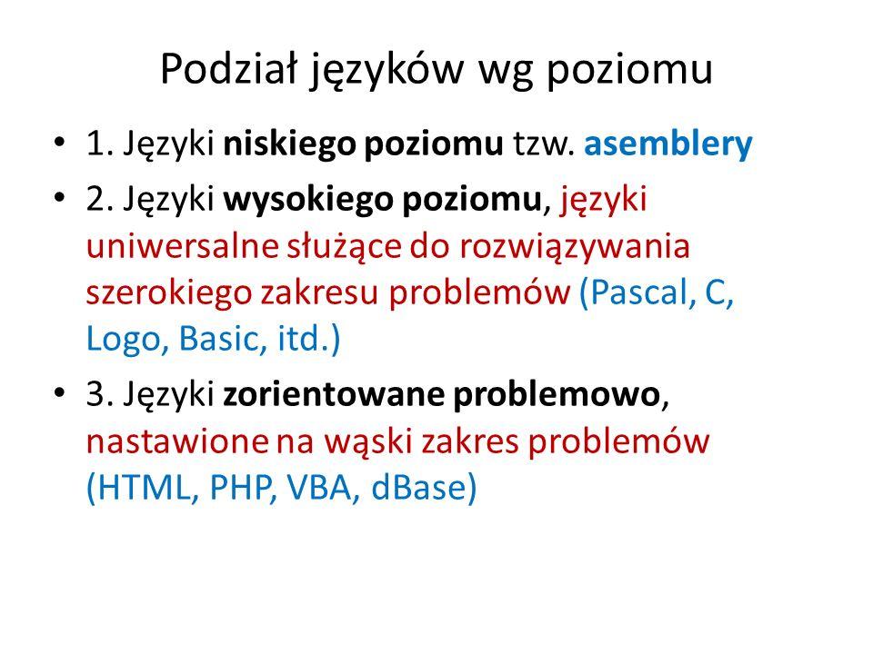 Podział języków wg poziomu 1. Języki niskiego poziomu tzw. asemblery 2. Języki wysokiego poziomu, języki uniwersalne służące do rozwiązywania szerokie