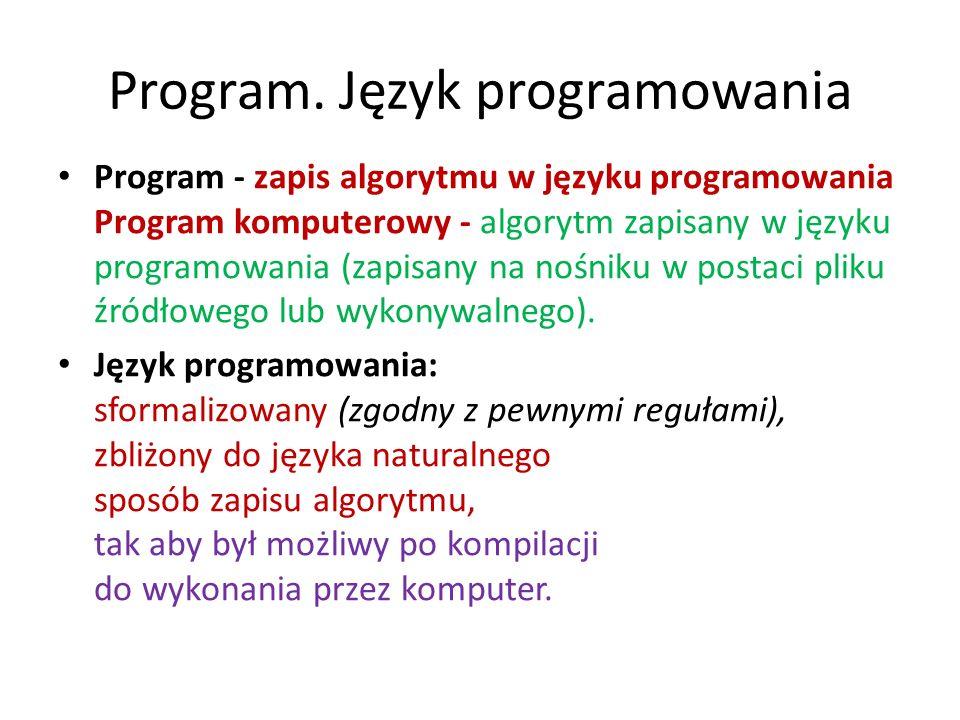 Program. Język programowania Program - zapis algorytmu w języku programowania Program komputerowy - algorytm zapisany w języku programowania (zapisany